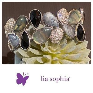 Lia Sophia Bracelet Elastic Black Gray and CZ